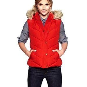 Gap Red Fur Trimmed Hooded Puffer Vest